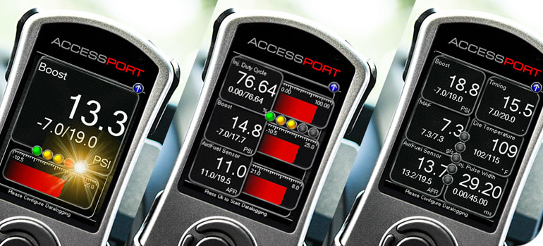 Cobb Accessport data logging and gauge display