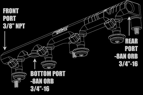 20-0159 Radium Engineering S14/S15 Nissan SR20DET Fuel Rail Port Configuration