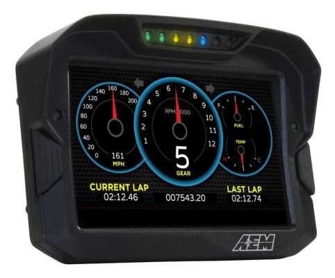 AEM CD-7 digital dash front angle