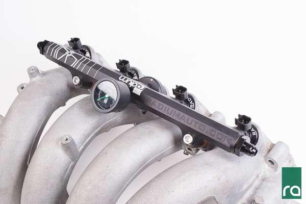 Radium Engineering top feed fuel rail with fuel pressure gauge