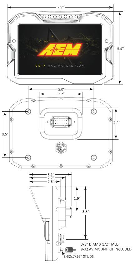 AEM CD-7 Dash dimensions